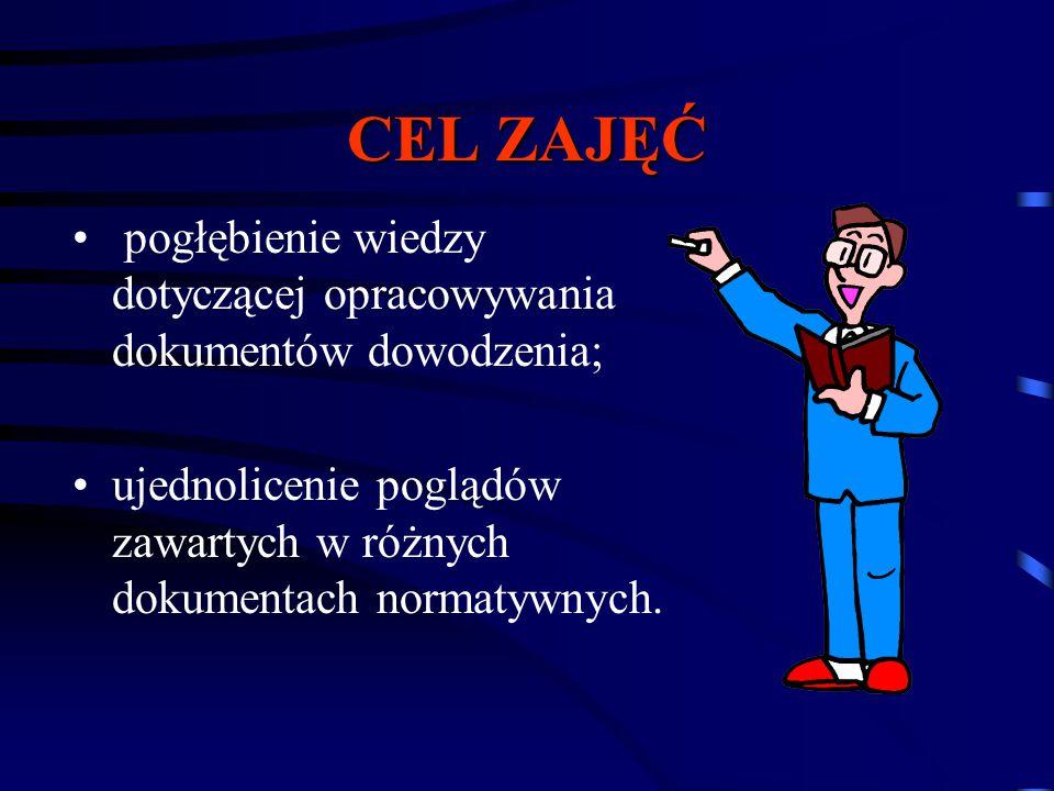 CEL ZAJĘĆ pogłębienie wiedzy dotyczącej opracowywania dokumentów dowodzenia; ujednolicenie poglądów zawartych w różnych dokumentach normatywnych.