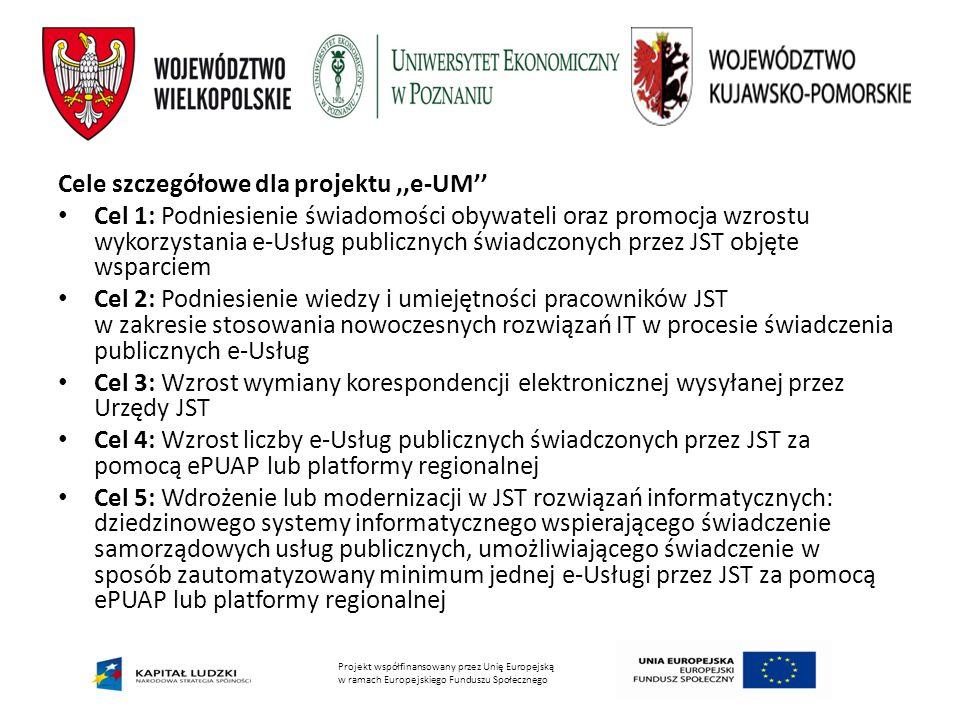 Cele szczegółowe dla projektu ,,e-UM''