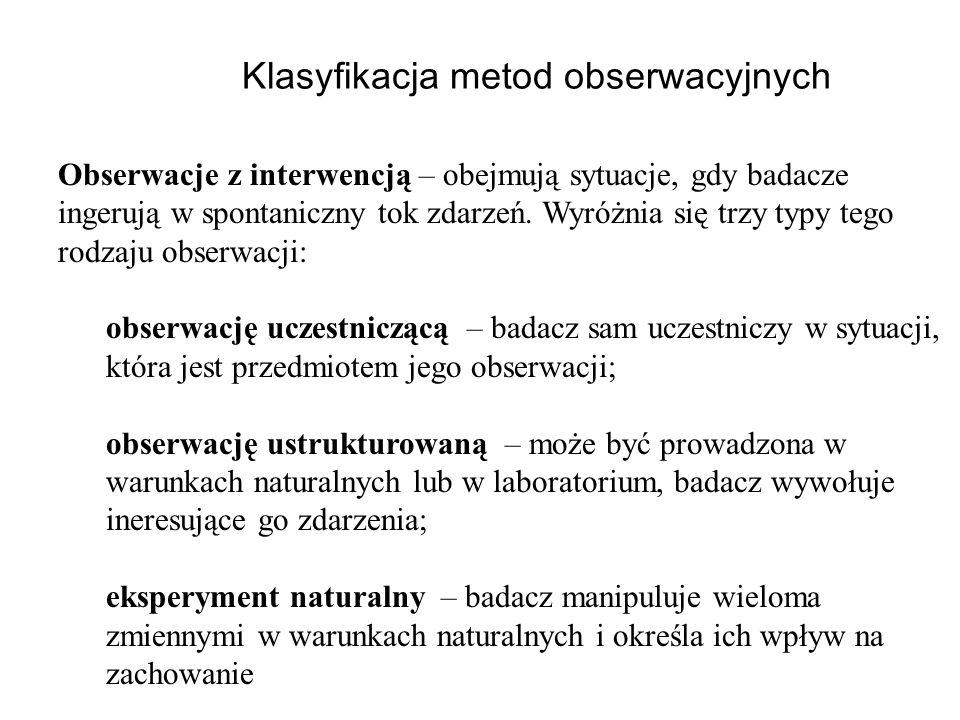 Klasyfikacja metod obserwacyjnych
