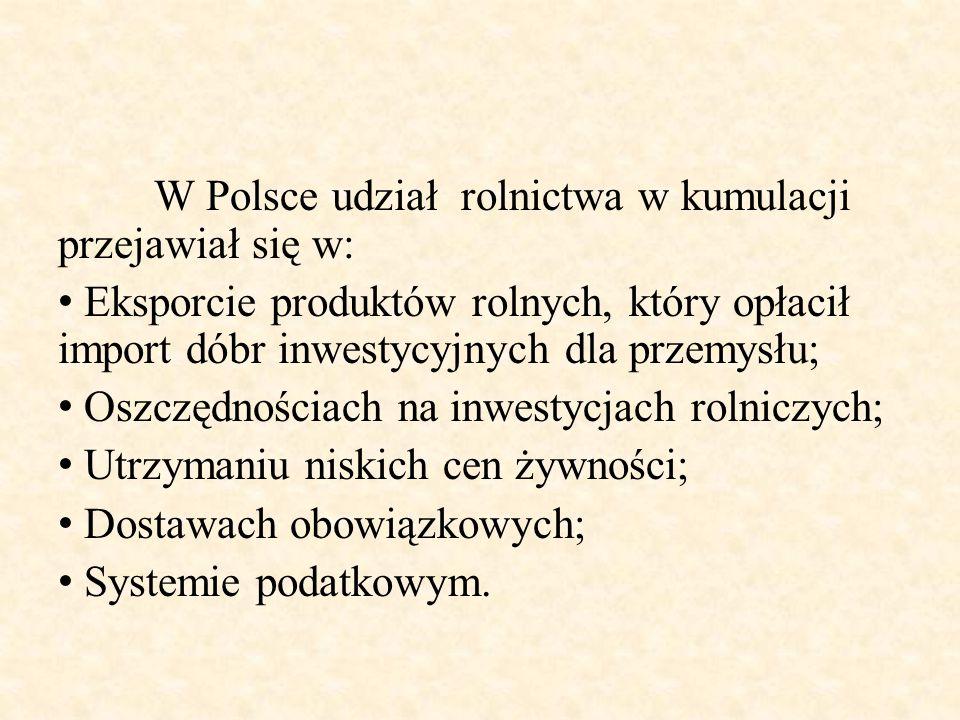 W Polsce udział rolnictwa w kumulacji przejawiał się w: