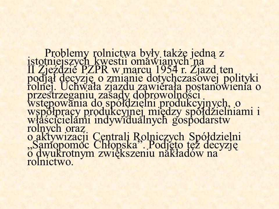 Problemy rolnictwa były także jedną z istotniejszych kwestii omawianych na II Zjeździe PZPR w marcu 1954 r.