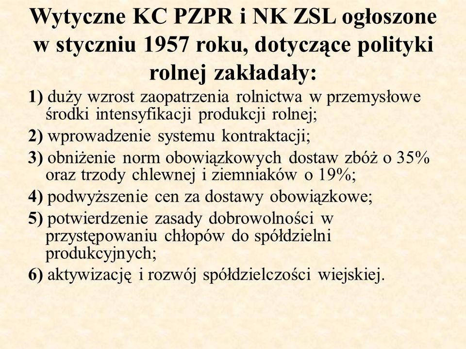 Wytyczne KC PZPR i NK ZSL ogłoszone w styczniu 1957 roku, dotyczące polityki rolnej zakładały: