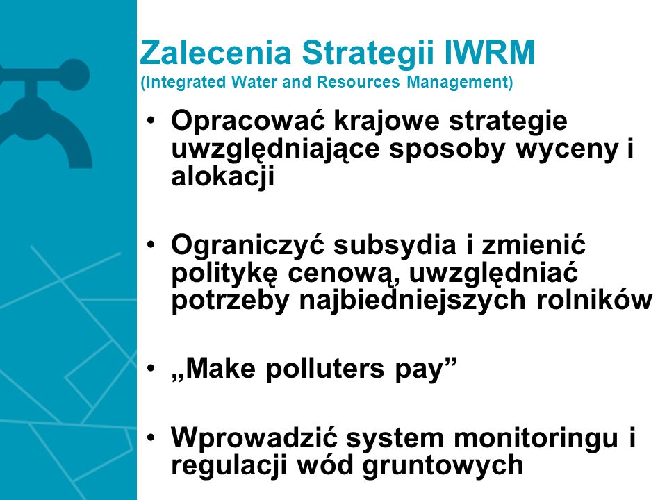Zalecenia Strategii IWRM (Integrated Water and Resources Management)