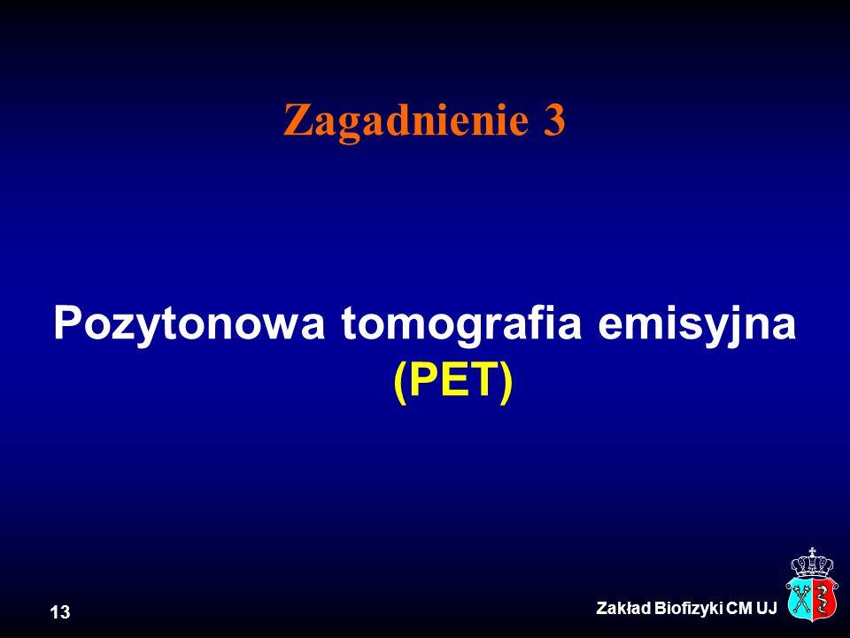 Zagadnienie 3 Pozytonowa tomografia emisyjna (PET)