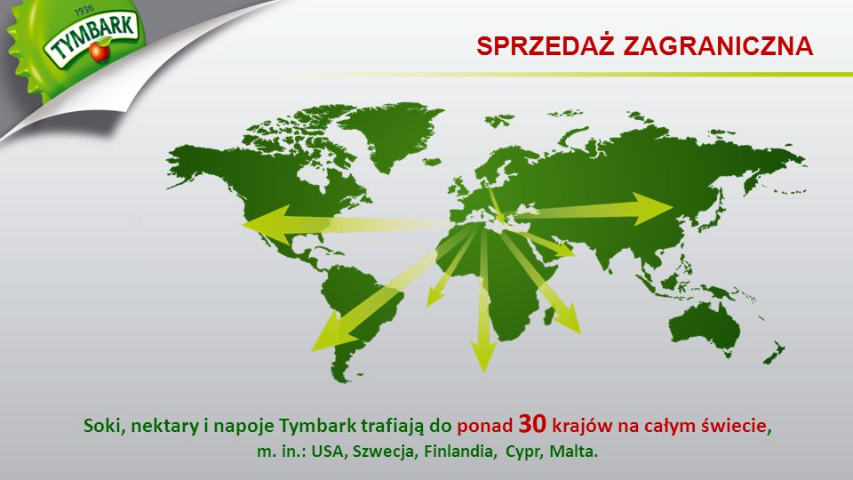 SPRZEDAŻ ZAGRANICZNA Soki, nektary i napoje Tymbark trafiają do ponad 30 krajów na całym świecie, m.