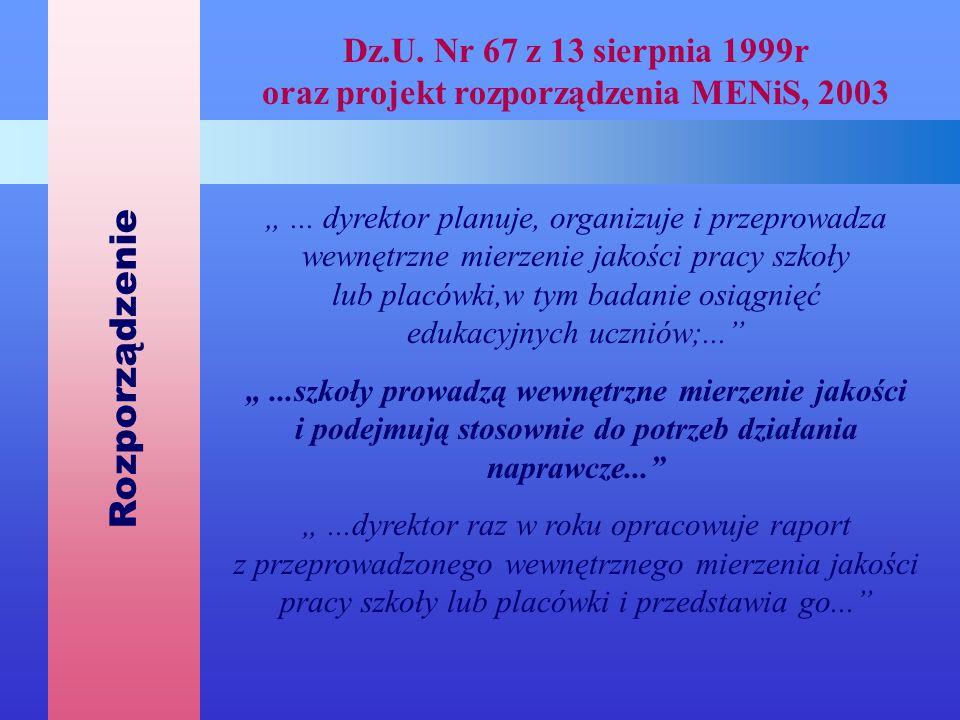 Rozporządzenie Dz.U. Nr 67 z 13 sierpnia 1999r oraz projekt rozporządzenia MENiS, 2003.
