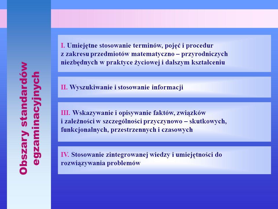 Obszary standardów egzaminacyjnych