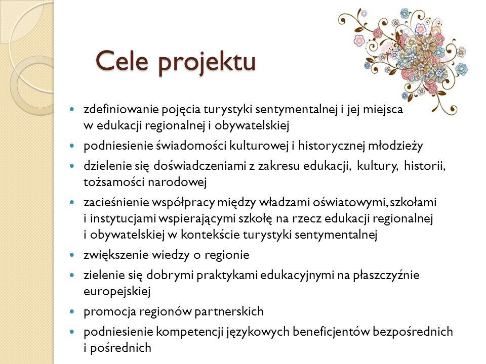 Cele projektu zdefiniowanie pojęcia turystyki sentymentalnej i jej miejsca w edukacji regionalnej i obywatelskiej.