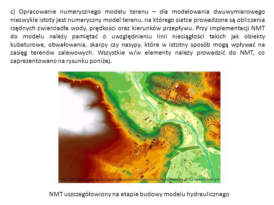 NMT uszczegółowiony na etapie budowy modelu hydraulicznego