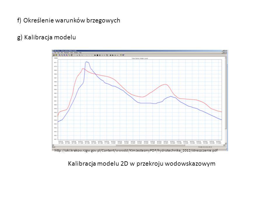f) Określenie warunków brzegowych g) Kalibracja modelu