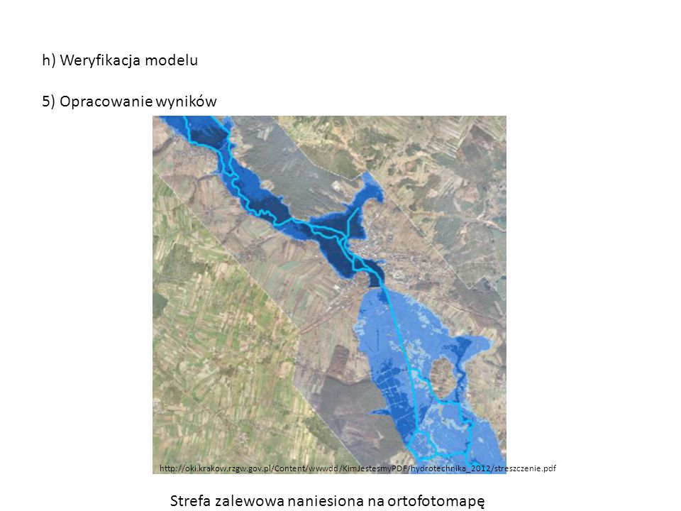 Strefa zalewowa naniesiona na ortofotomapę
