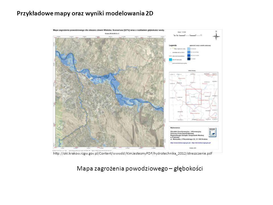 Przykładowe mapy oraz wyniki modelowania 2D
