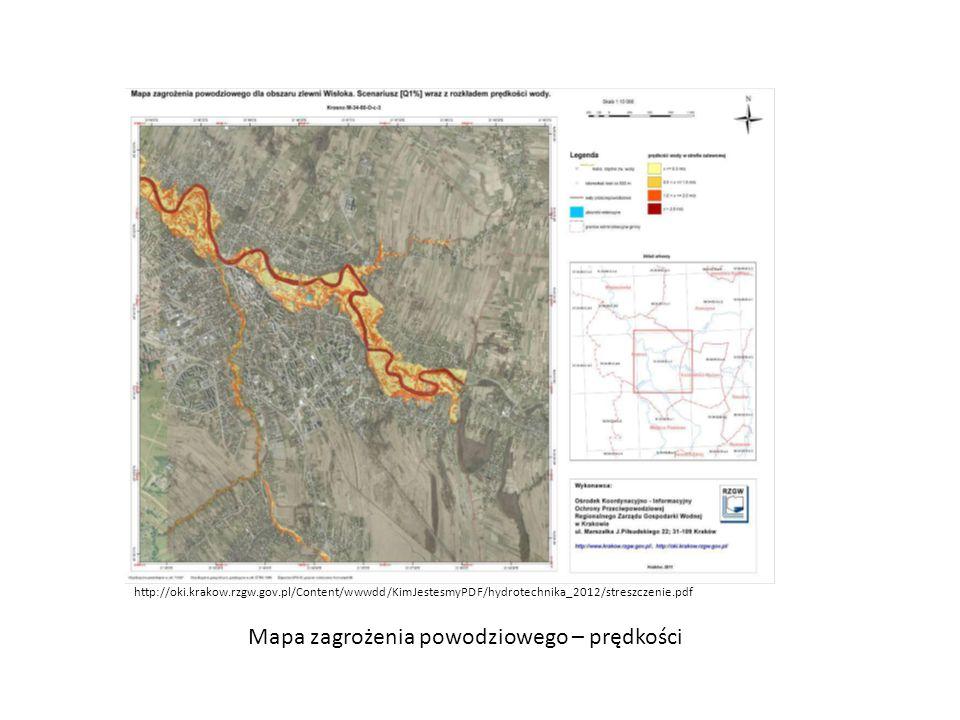 Mapa zagrożenia powodziowego – prędkości