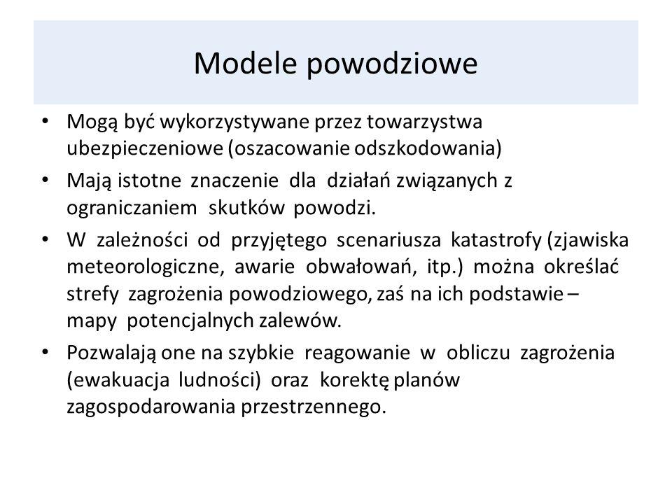 Modele powodziowe Mogą być wykorzystywane przez towarzystwa ubezpieczeniowe (oszacowanie odszkodowania)