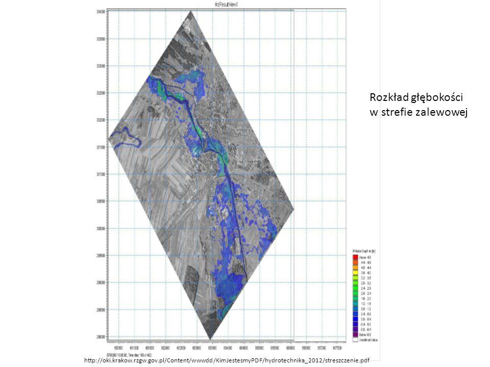 Rozkład głębokości w strefie zalewowej