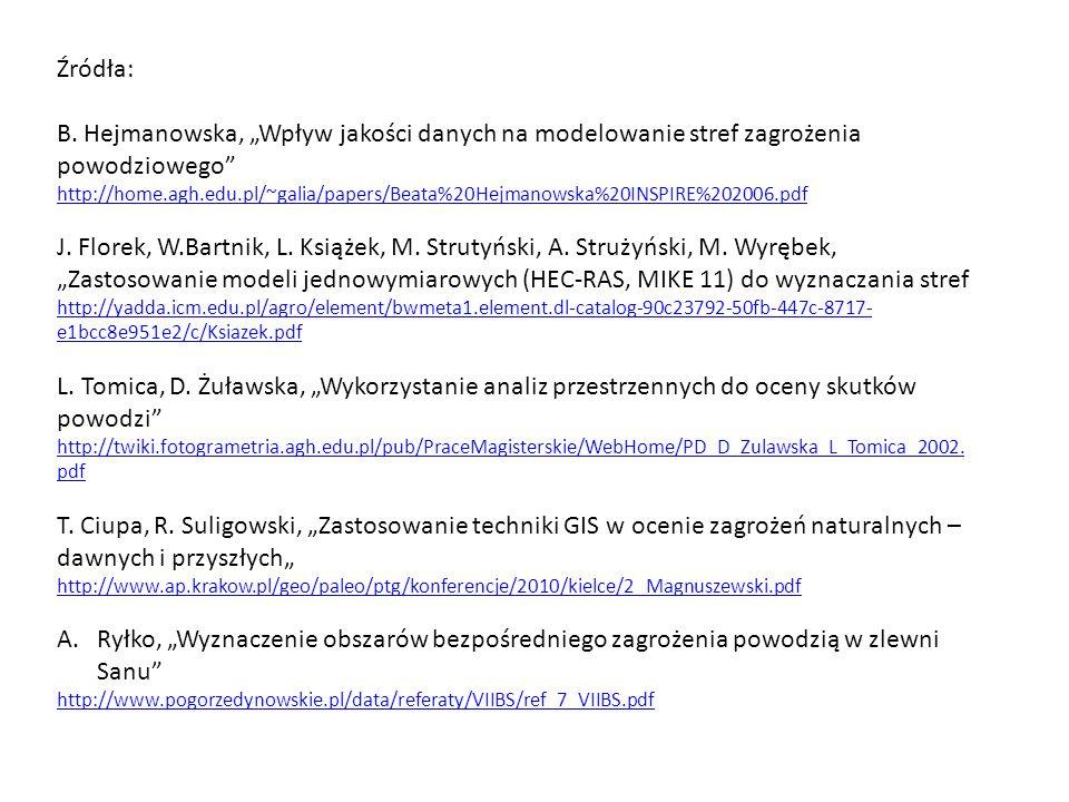 """Źródła: B. Hejmanowska, """"Wpływ jakości danych na modelowanie stref zagrożenia powodziowego"""