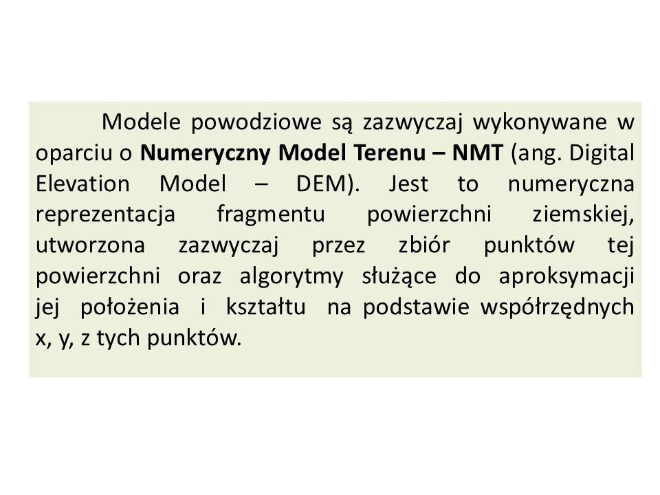 Modele powodziowe są zazwyczaj wykonywane w oparciu o Numeryczny Model Terenu – NMT (ang.