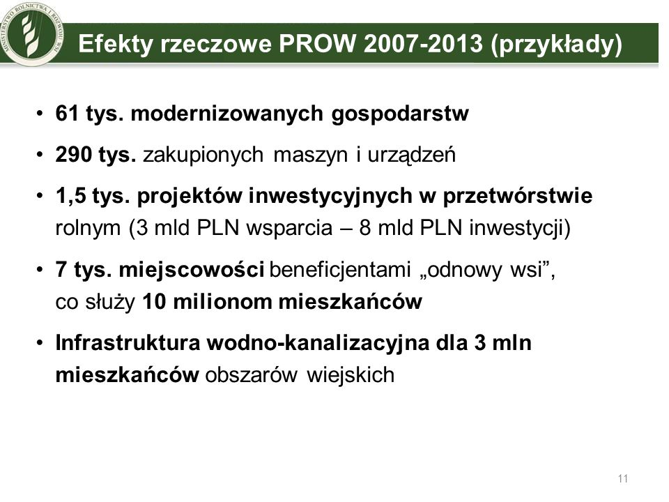 Efekty rzeczowe PROW 2007-2013 (przykłady)