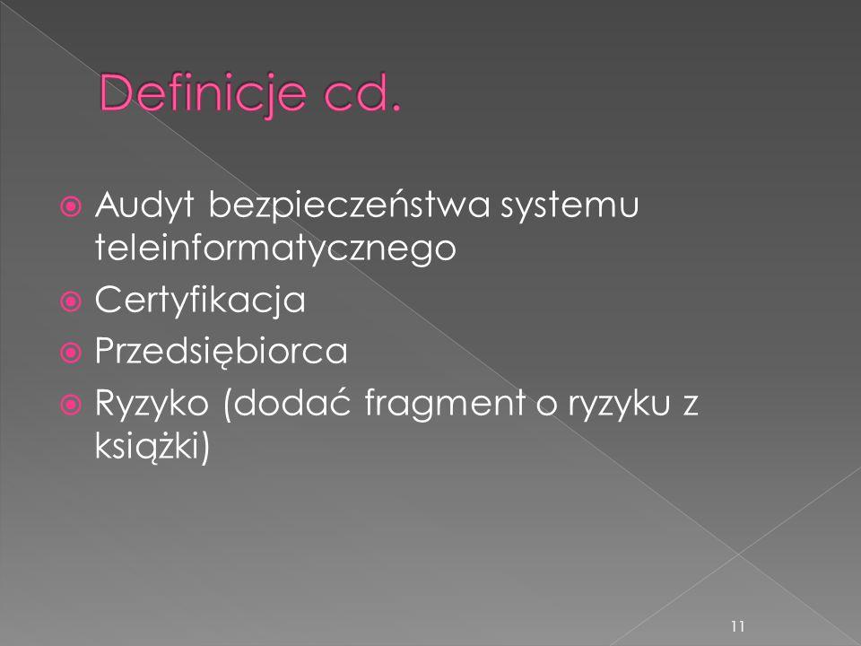 Definicje cd. Audyt bezpieczeństwa systemu teleinformatycznego