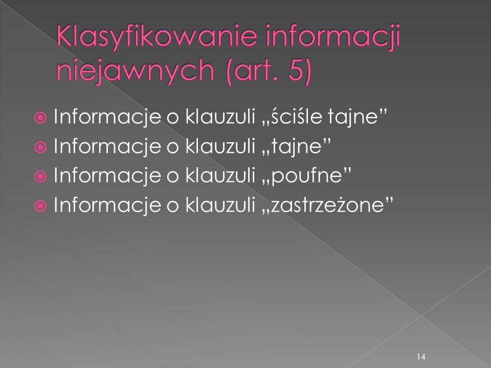 Klasyfikowanie informacji niejawnych (art. 5)