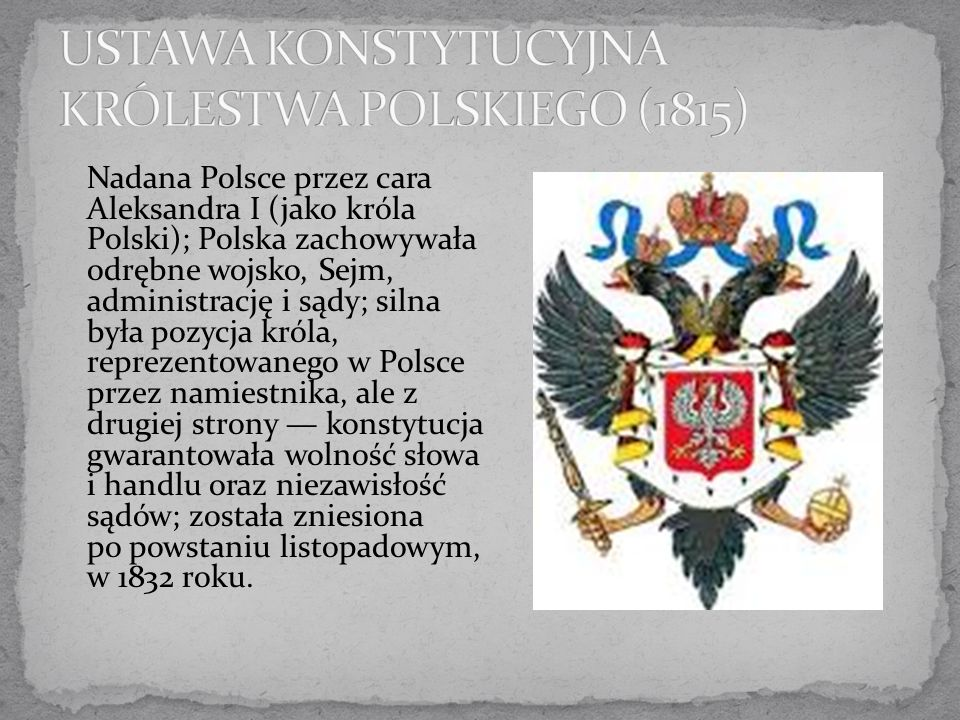 USTAWA KONSTYTUCYJNA KRÓLESTWA POLSKIEGO (1815)