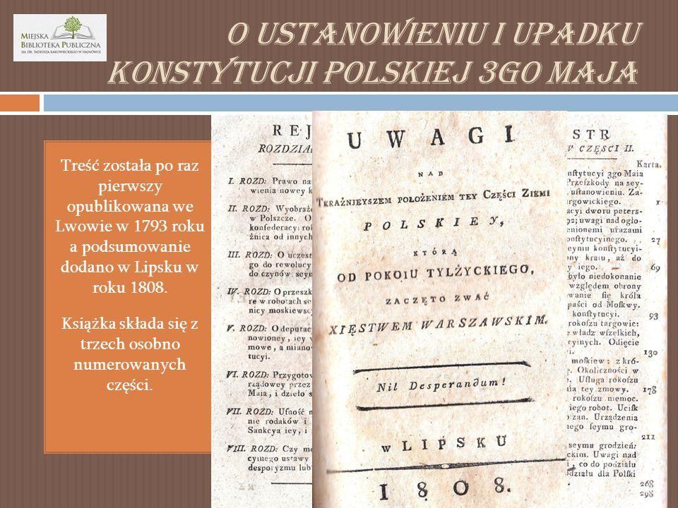 O ustanowieniu i upadku konstytucji polskiej 3go Maja