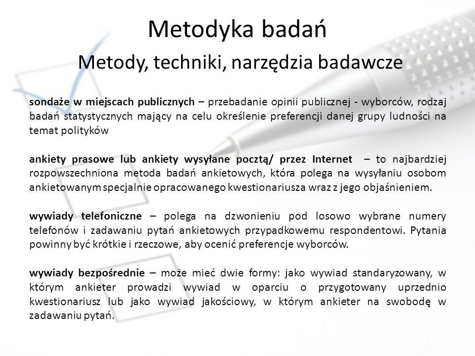 Metodyka badań Metody, techniki, narzędzia badawcze
