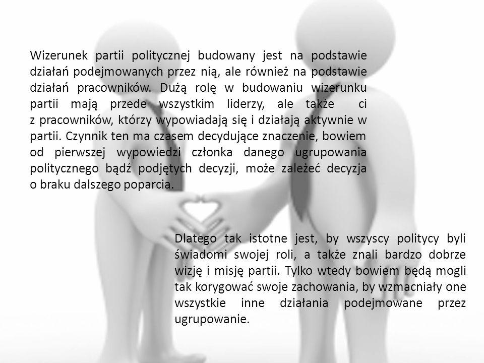 Wizerunek partii politycznej budowany jest na podstawie działań podejmowanych przez nią, ale również na podstawie działań pracowników. Dużą rolę w budowaniu wizerunku partii mają przede wszystkim liderzy, ale także ci z pracowników, którzy wypowiadają się i działają aktywnie w partii. Czynnik ten ma czasem decydujące znaczenie, bowiem od pierwszej wypowiedzi członka danego ugrupowania politycznego bądź podjętych decyzji, może zależeć decyzja o braku dalszego poparcia.