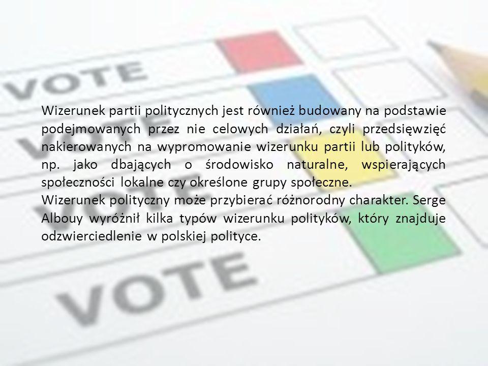 Wizerunek partii politycznych jest również budowany na podstawie podejmowanych przez nie celowych działań, czyli przedsięwzięć nakierowanych na wypromowanie wizerunku partii lub polityków, np. jako dbających o środowisko naturalne, wspierających społeczności lokalne czy określone grupy społeczne.