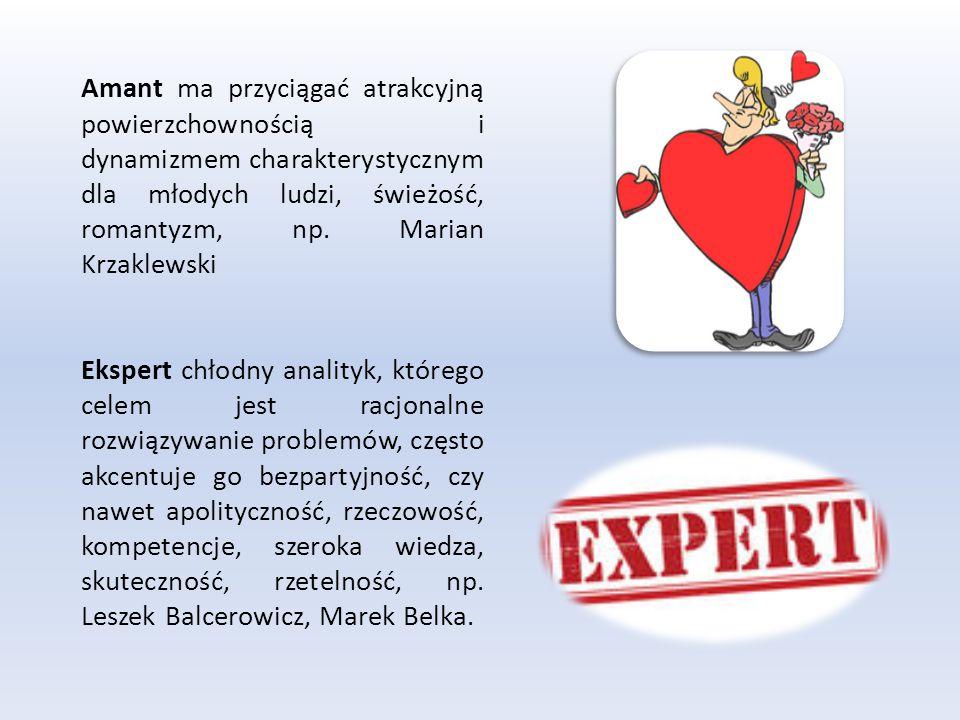 Amant ma przyciągać atrakcyjną powierzchownością i dynamizmem charakterystycznym dla młodych ludzi, świeżość, romantyzm, np. Marian Krzaklewski