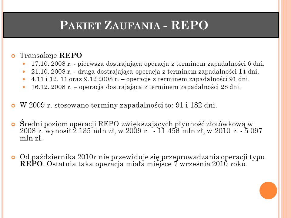 Pakiet Zaufania - REPO Transakcje REPO