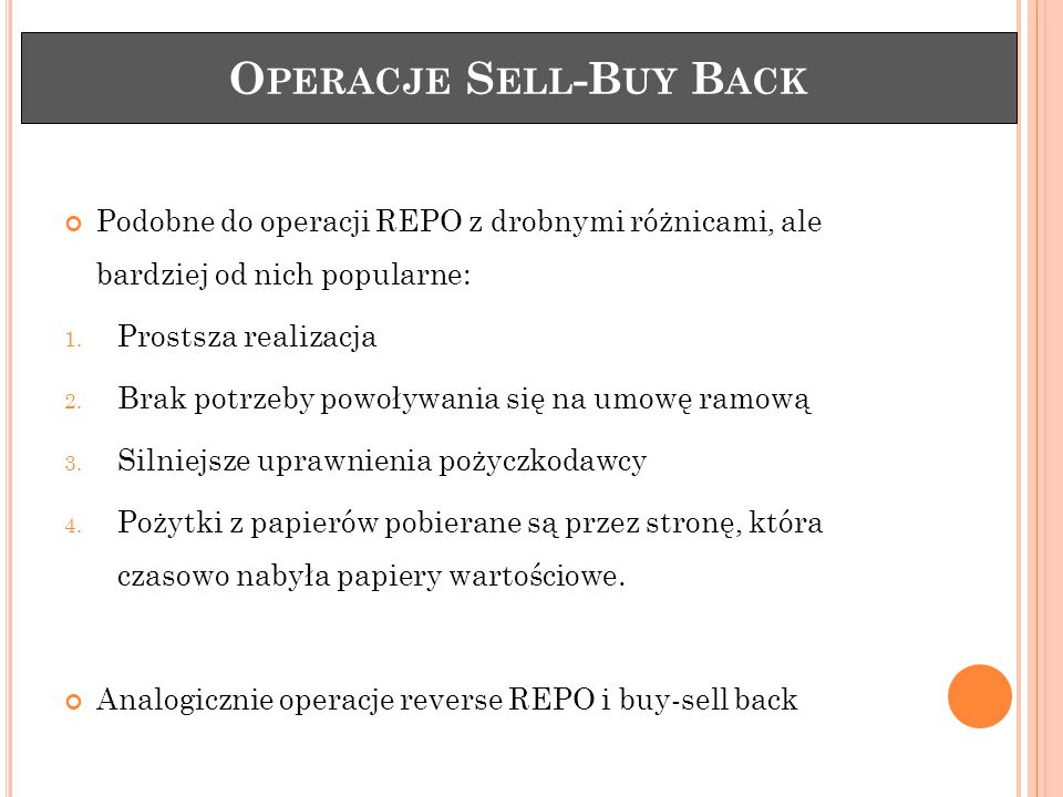 Operacje Sell-Buy Back