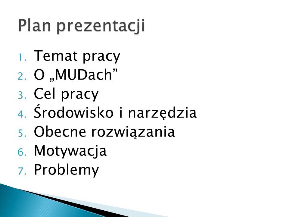 """Plan prezentacji Temat pracy O """"MUDach Cel pracy"""