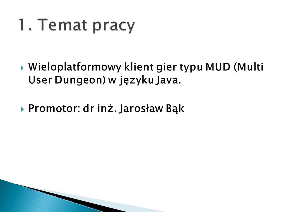 1. Temat pracy Wieloplatformowy klient gier typu MUD (Multi User Dungeon) w języku Java.