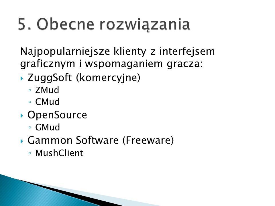 5. Obecne rozwiązania Najpopularniejsze klienty z interfejsem graficznym i wspomaganiem gracza: ZuggSoft (komercyjne)
