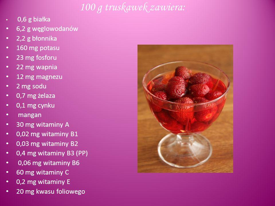 100 g truskawek zawiera: 6,2 g węglowodanów 2,2 g błonnika
