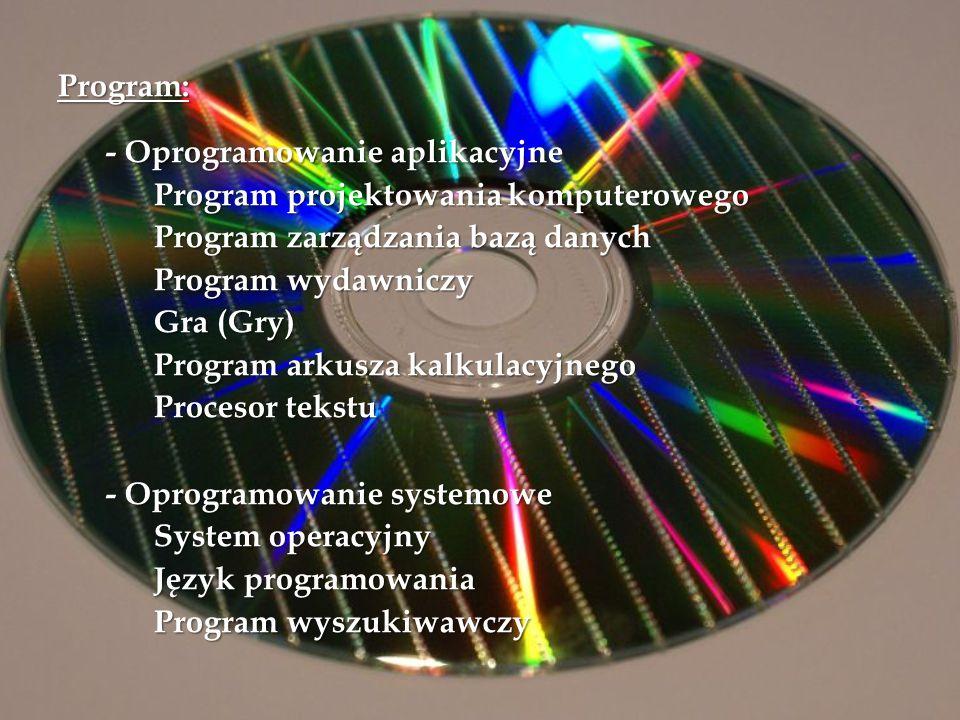 Program: - Oprogramowanie aplikacyjne Program projektowania komputerowego Program zarządzania bazą danych Program wydawniczy Gra (Gry) Program arkusza kalkulacyjnego Procesor tekstu - Oprogramowanie systemowe System operacyjny Język programowania Program wyszukiwawczy