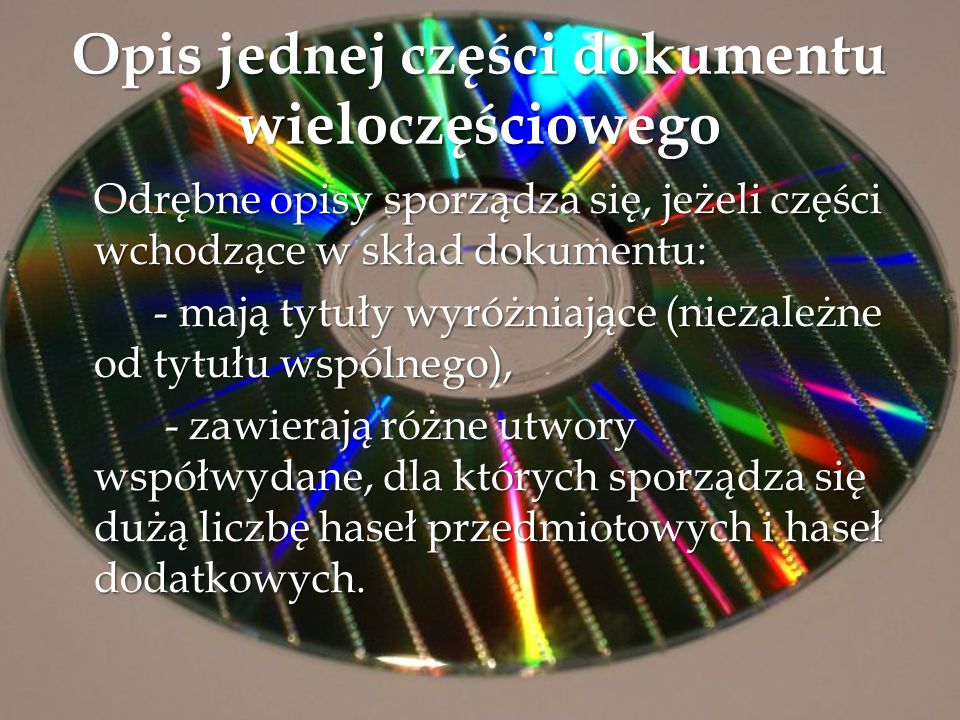 Opis jednej części dokumentu wieloczęściowego