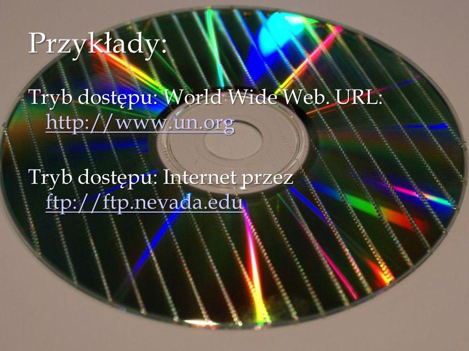 Przykłady: Tryb dostępu: World Wide Web.