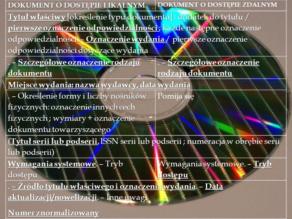 . – Szczegółowe oznaczenie rodzaju dokumentu