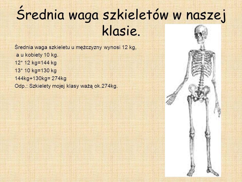 Średnia waga szkieletów w naszej klasie.