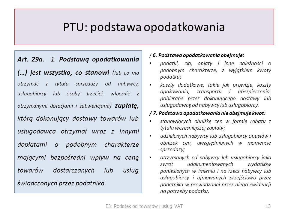 PTU: podstawa opodatkowania