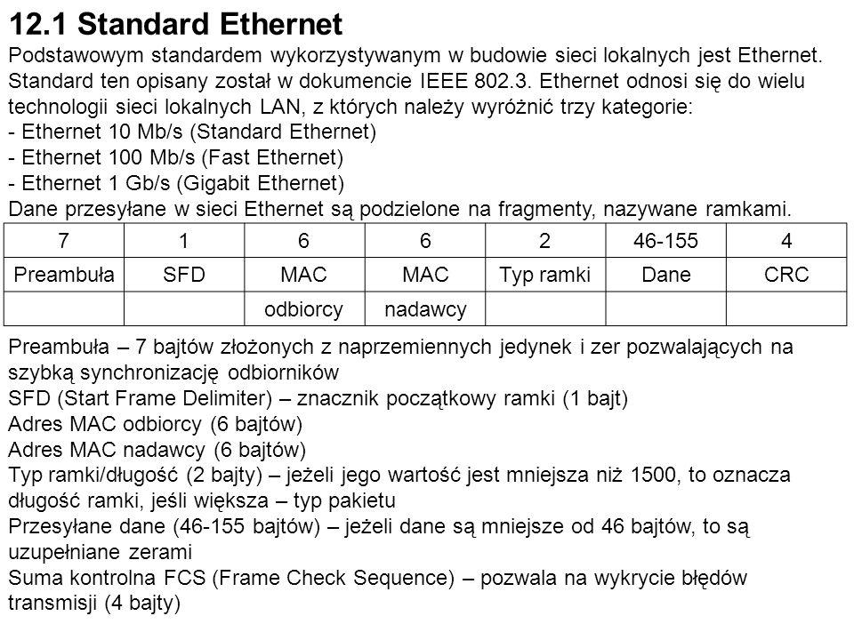 12.1 Standard Ethernet