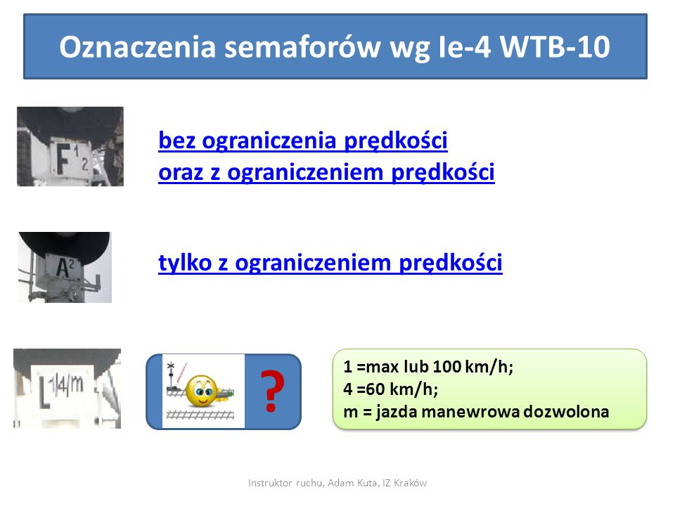Oznaczenia semaforów wg Ie-4 WTB-10