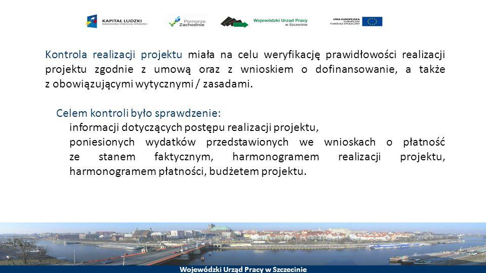 Kontrola realizacji projektu miała na celu weryfikację prawidłowości realizacji projektu zgodnie z umową oraz z wnioskiem o dofinansowanie, a także z obowiązującymi wytycznymi / zasadami.