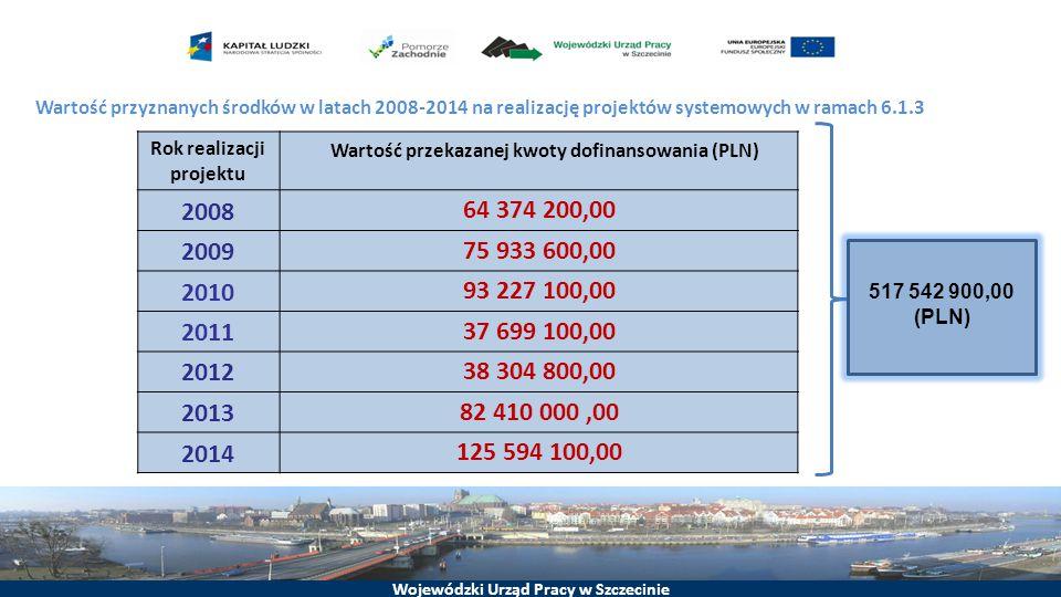 Rok realizacji projektu Wartość przekazanej kwoty dofinansowania (PLN)