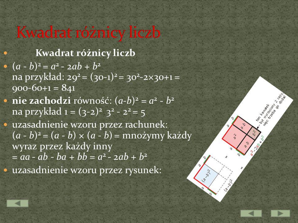 Kwadrat różnicy liczb Kwadrat różnicy liczb