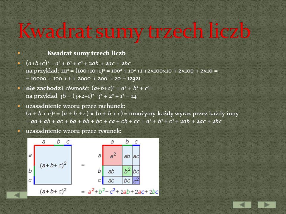 Kwadrat sumy trzech liczb