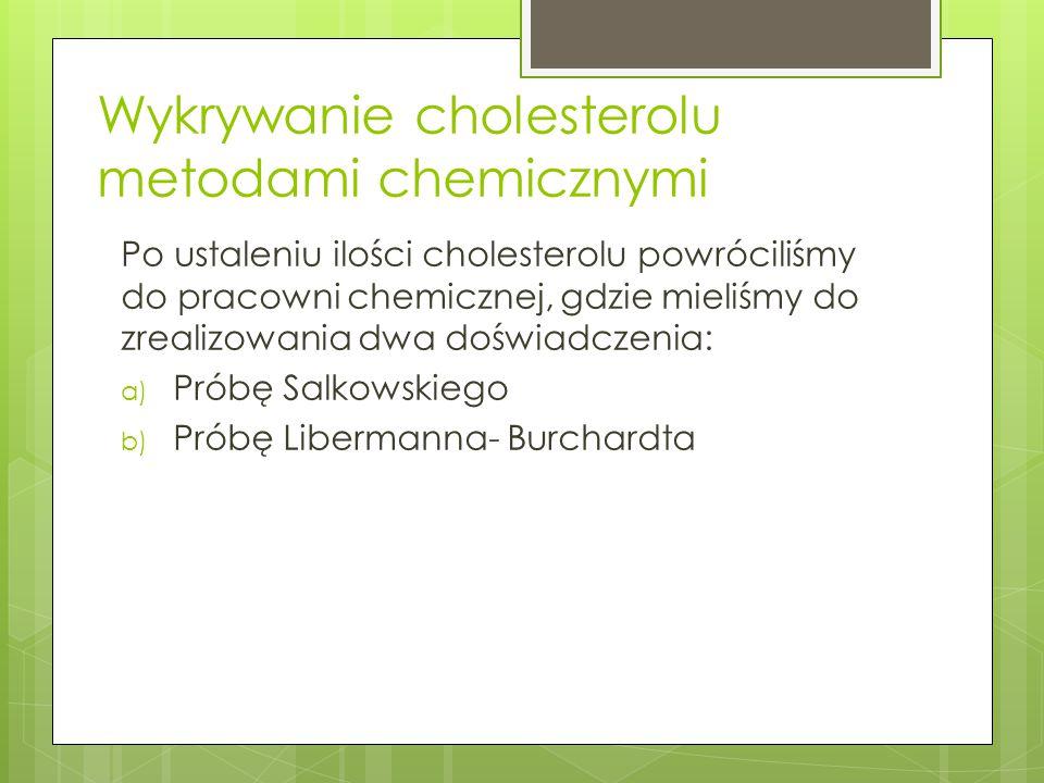 Wykrywanie cholesterolu metodami chemicznymi