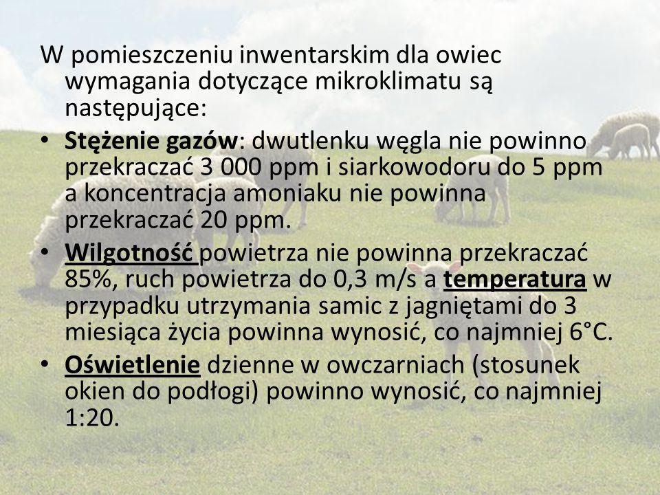 W pomieszczeniu inwentarskim dla owiec wymagania dotyczące mikroklimatu są następujące: